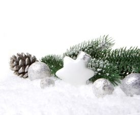 christmas, decoration with fir branch, pine cones, christmas bauble silver and white
